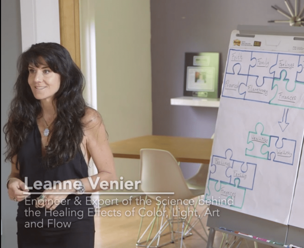"Leanne Venier speaking at a Health & Wealth conference about ""Flow & Financial Freedom"""