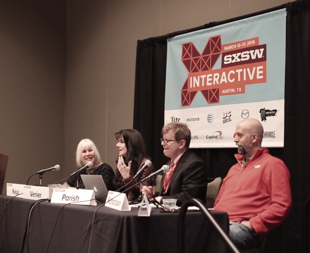 "Leanne with her guest panelists at SXSW Interactive Conference - her talk was titled ""Catalytic Color: Flow & the Balanced Brain Benefit"""
