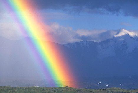 Alaska. Denali NP. Alaska Range. Rainbow above Muldrow Glacier.