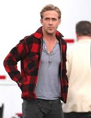 ryan gosling wearing red plaid