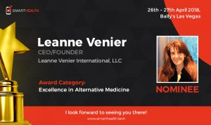 Leanne Venier nominated for the Excellence in Alternative Medicine Award at the SmartHealth Medical Technology Innovations conference, April 2018