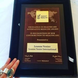 "Image of Leanne Venier's award ""Excellence in Healthcare, Alternative Medicine, in Recognition of her Contributions to Healthcare, SmartHealth Medical Technology Innovations conference, 2018"